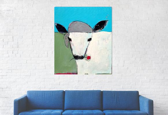 Bild mit Rind über Sofa