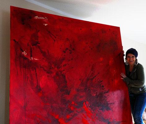 rotes bild abstrakt gross