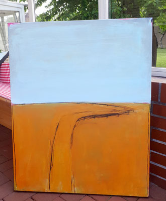 Gemälde abstrakte LAndschaft orange hellblau