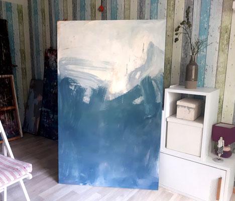 Tanzrausch - blau weußes Bild