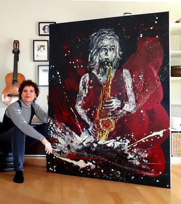 Als Auftrag gemalte Musikerin in 160 x 120 cm