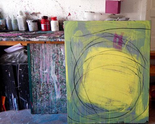 bild im Atelier gelb grün