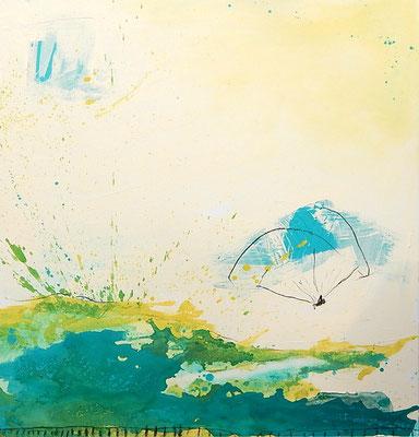 Paragliding Bild in pastell