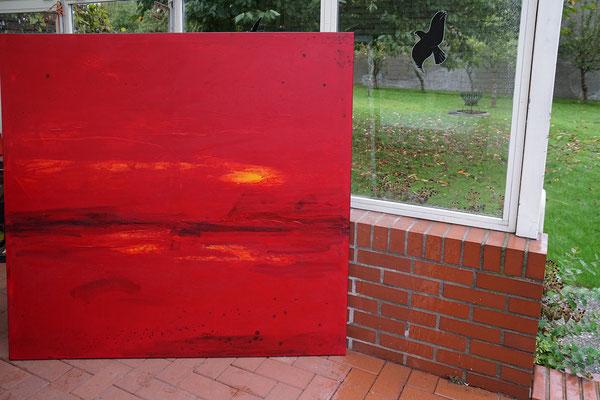 Kurz vor dem Morgen - Bild in Rot