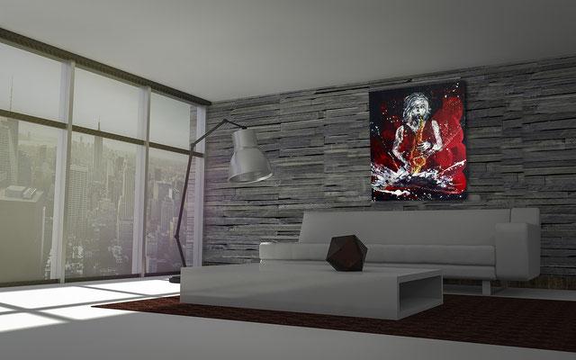 Musikerin gemalt im Raum