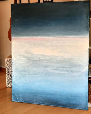 abstraktes blaues Landschaftsbild