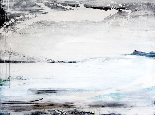 schwarz weißes großes Gemälde Landschaftsbild