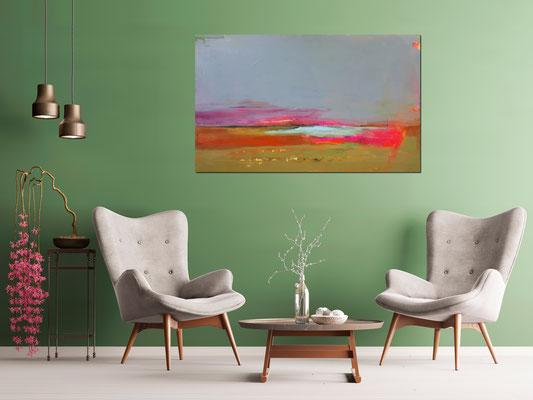 xxl Bild im Raum grüne Wand