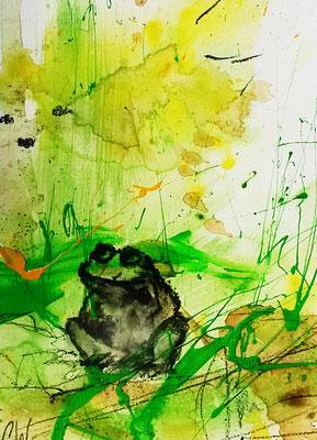 Frosch malen lassen avstrakt grün