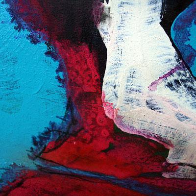 detail blau rot acrylbild
