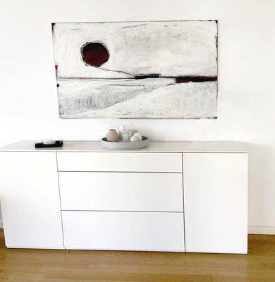 weiße abstrakte Bilder für Wohnzimmer