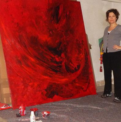 rot gemaltes Gemälde