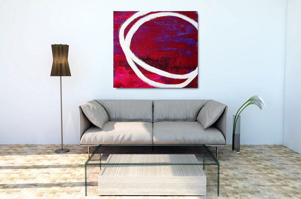 abstraktes Gemälde rot lila