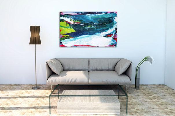 blaues Bild über Sofa