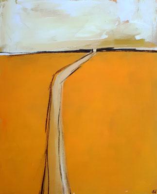 Oranges Landschaftsbild Gemälde abstrakt modern - Weg