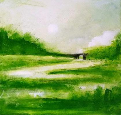 Grünes abstraktes Landschaftsgemälde