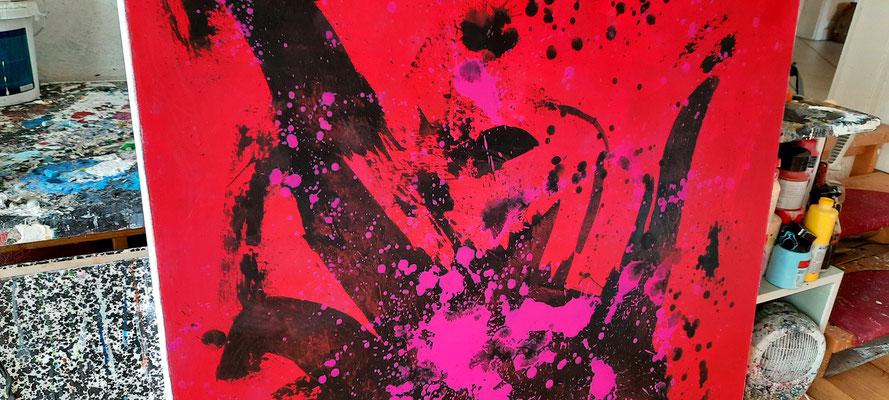 gemaltes rotes Bild