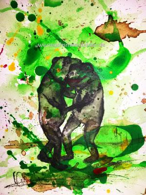 Tanzende Jungs - Frosche auf Malpappe