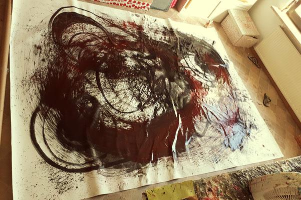 großformatige abstrakte Malerei