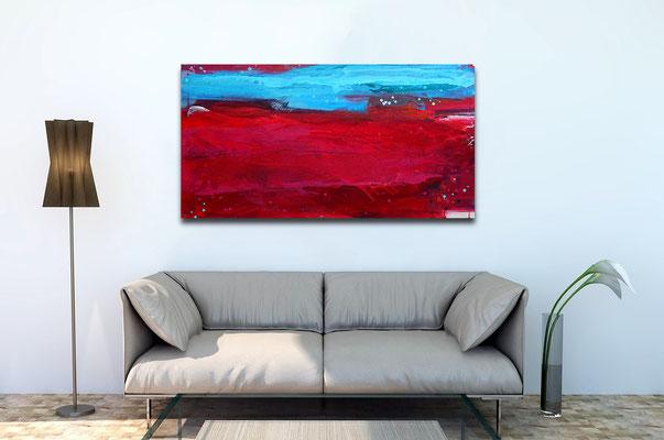 abstraktes Bild in rot und blau