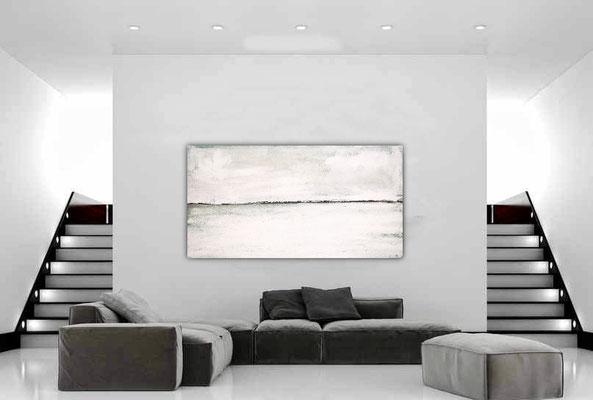 abstrakte Malerei Kunst - weisse Landschaft