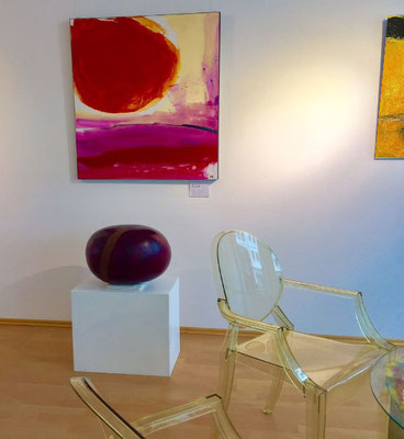Gemälde abstrakt lila beige brombeer orange rot