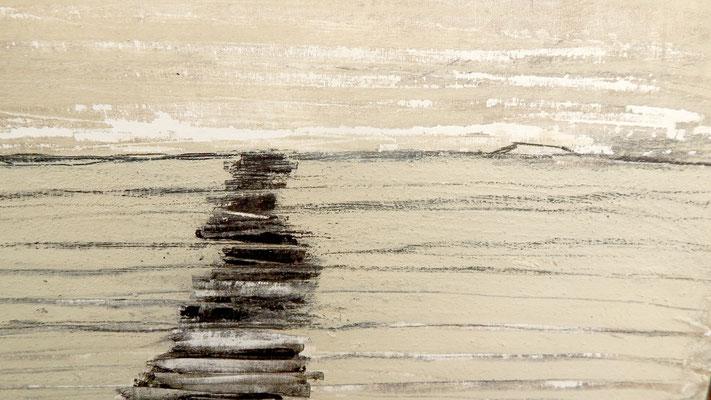 Abstrakte Landschaft in beige gespachtelt