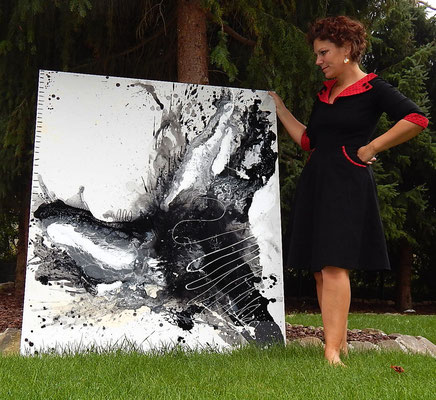schwarz weiß Acrylbild groß Unikat nr 6