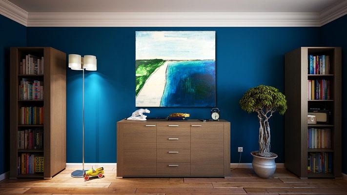 blaue Wand und blaues Bild