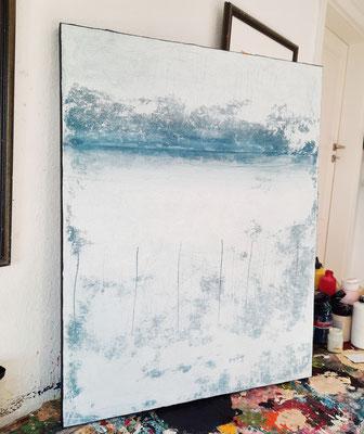 abstrakt gemaltes Wandbild