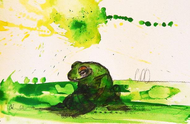froschbild, leerer Krug