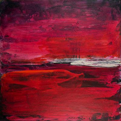 rotes abstraktes Bild: Liebe 100 x 100 cm
