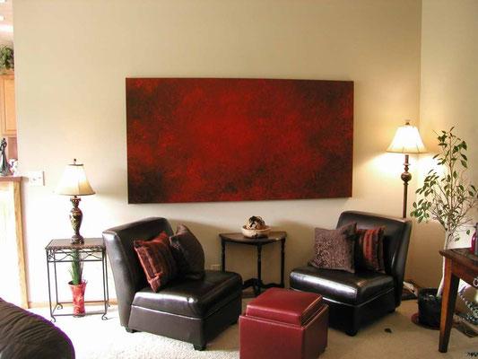 rotes bild sofa