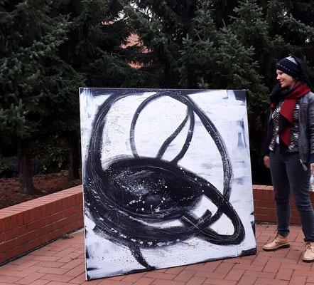 Nightswimmer -140 x 140 cm wurde als Auftrag gemalt