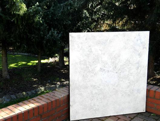 weißes Gemälde abstrakt beige