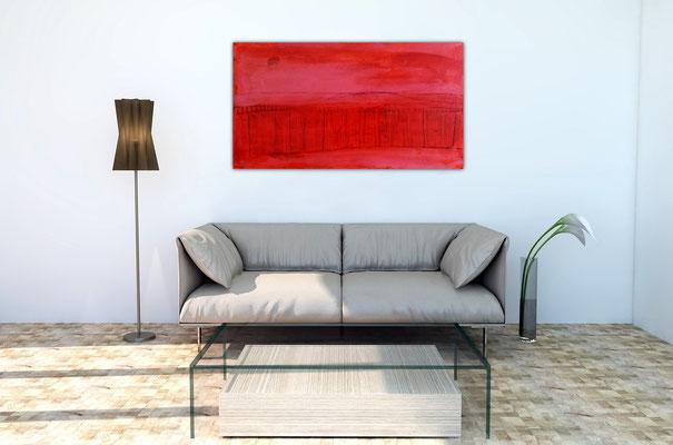 150 x 80 cm rotes Bild im Raum