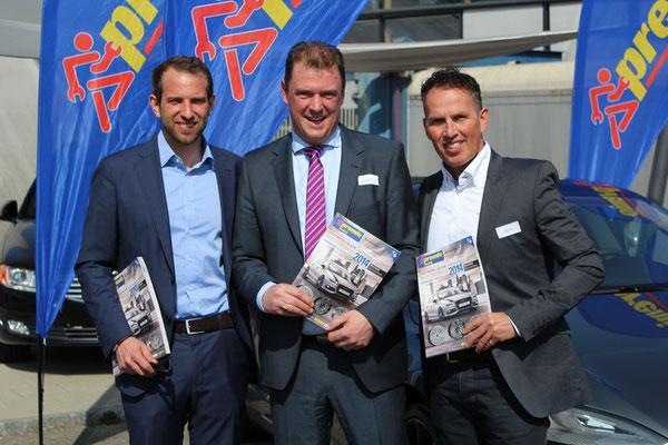 Kai Roggenland ( verantwortlicher für PREMIO Austria ), Roger Blaser ( Verantwortlicher für PREMIO Schweiz ) , Ralph Treichler ( Präsident des Beirat von PREMIO, Schweiz ).