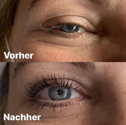 """Lashes Lifting, Vergleich """"vorher - nachher"""""""