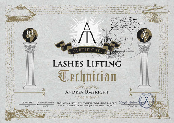 Lashes & Brows Lifting, Zertifikat Phi Academy