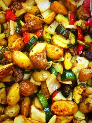 Gegrillte Kartoffel-Gemüse-Pfanne