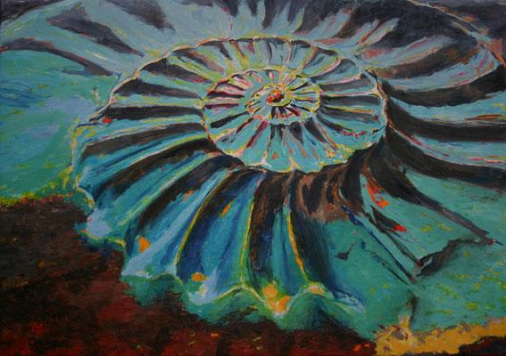"""Ammonite turquoise"" | Oel auf Leinwand | 100 x 140 cm"