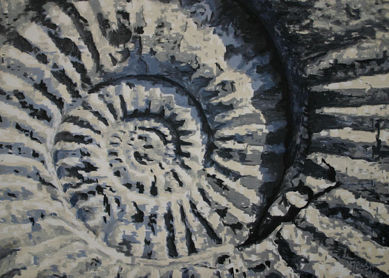 """Ammonite gray crack"" | Oel auf Leinwand | 100 x 140 cm"