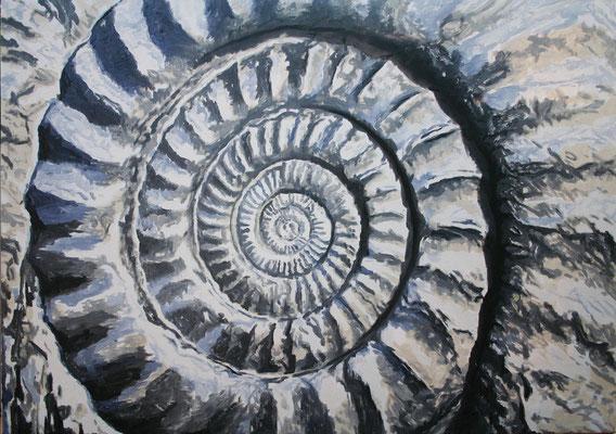"""Ammonite gray"" | Oel auf Leinwand | 100 x 140 cm"