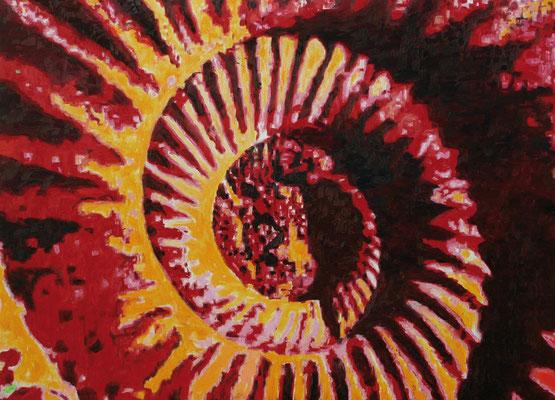 """Ammonite deep red"" | Oel auf Leinwand | 100 x 140 cm"