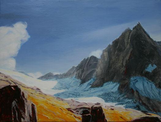 Glacier Bondasca llI  Öl auf Leinwand  70 x 90 cm