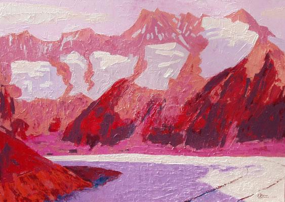 """Aletsch rot mit fünf Firnfeldern"" | Oel auf Leinwand | 180 x 130 cm"