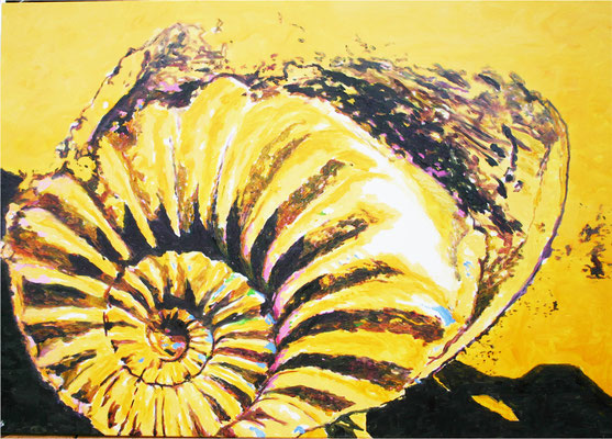 """Ammonite yellow black"" 