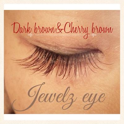 ダークブラウンと赤みのあるかわいいチェリーブラウンのミックス
