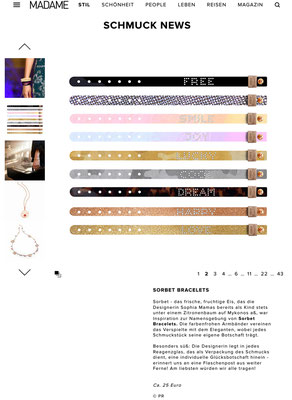Sorbet Bracelets in MADAME Online, June 13, 2017