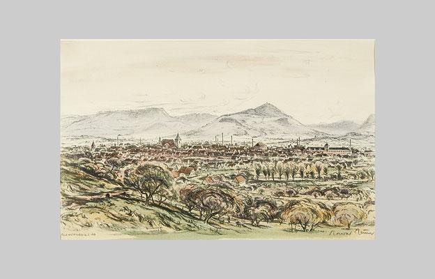 46 x 30 cm, Blick auf Kirchheim und Alb